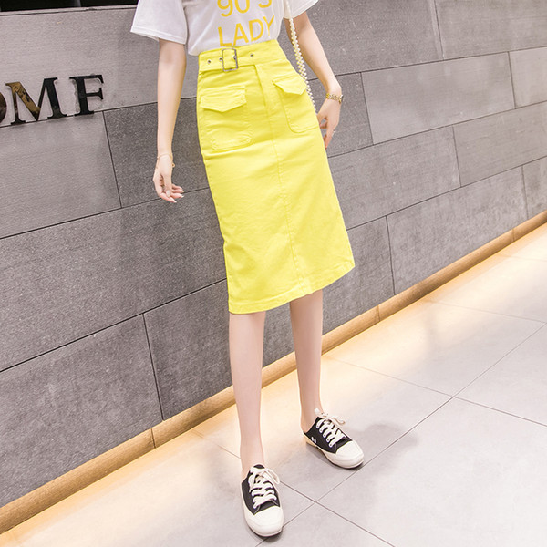 2019 Summer Midi Skirts Womens High Waist black green yellow Pockets Skirt ladies korean plus size A-Line skirt jupe femme