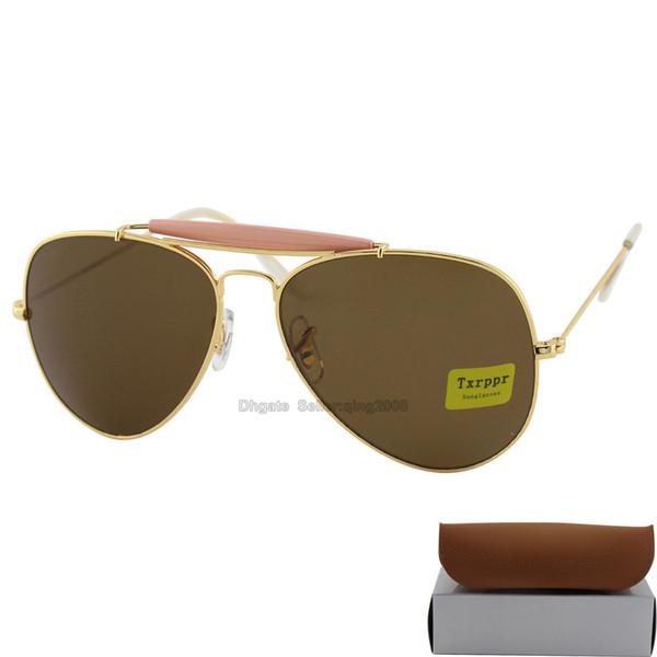 1 adet Yeni Varış Txrppr Tasarımcı Pilot Womens Için Mens Womens Outdoorsman Güneş Gözlükleri Gözlük Altın / Kahverengi Ile 62mm Cam Lensler ...