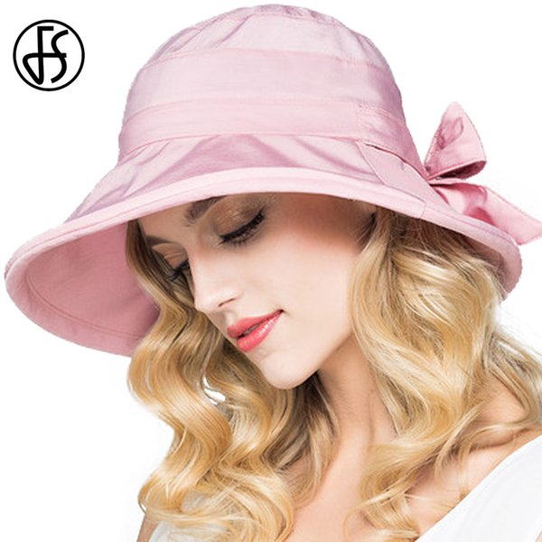wholesale Fashion Sun Cap For Women Summer Foldable Bow Beach Wide Brim UV Visor Hat Sunhat Floppy Outdoor Female Sombrero Playa Mujer