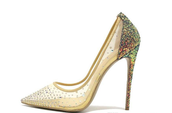 2019 free shipping Wedding women lady nude mesh net tulle Glitter Crystal Poined Toes high HEELED heels shoes Stiletto Heel shoes pump 10cm