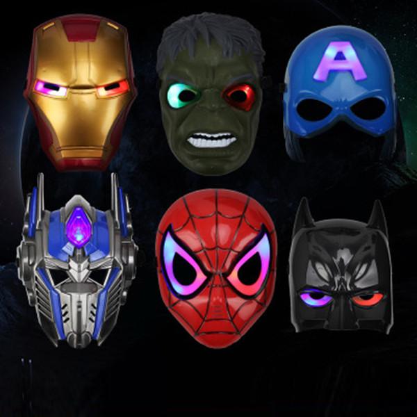 LED Glowing Light masque Enfants Halloween Masques Glowing Lighting Masque Vengeurs Capitaine Amérique Batman Ironman Spiderman Halloween Cartoon P