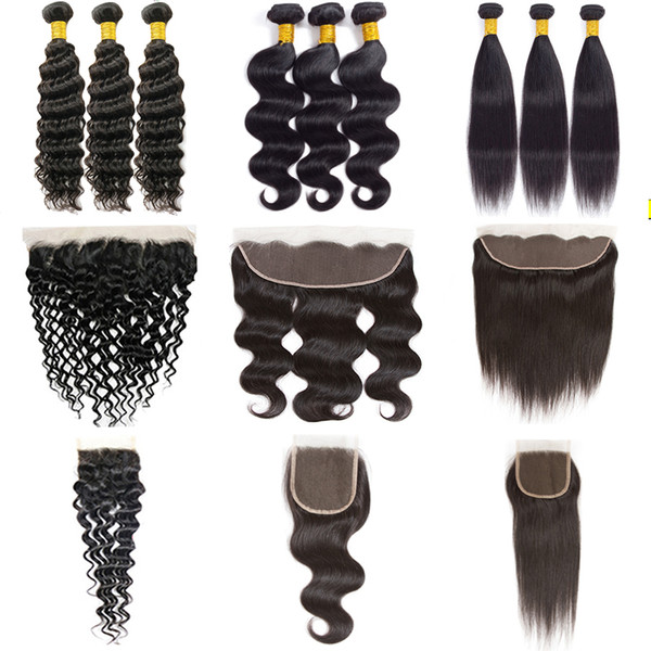 Indian Straight Human Hair Bundles with Frontal Brazilian Body Wave Virgin Hair Bundles with Closure Water Deep Wave Kinky Curly Weaves