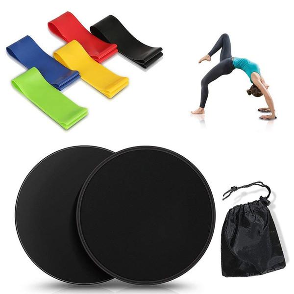 Núcleos Deslizadores Discos (2) Bandas de bucle de resistencia (5) Equipo de ejercicio para ejercicios de ejercicios en casa al aire libre Estiramiento de fisioterapia