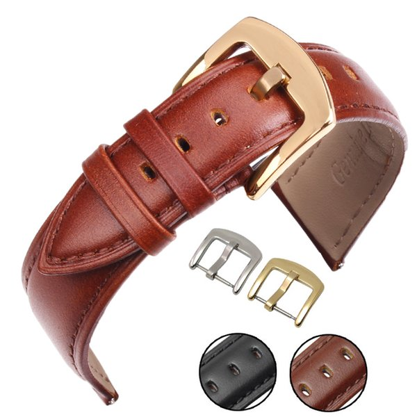 Genuine Leather Watch Band Black Brown 18 19 20 21 22 24mm Women Men Soft Smooth Strap With Silver Gold Metal Buckle
