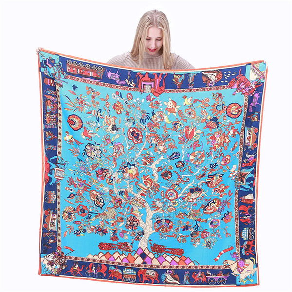 best selling Hot sale variety of multi-color French square tree floral print scarf designer brand luxury ladies H shawl blue large twill silk scarf 130 *