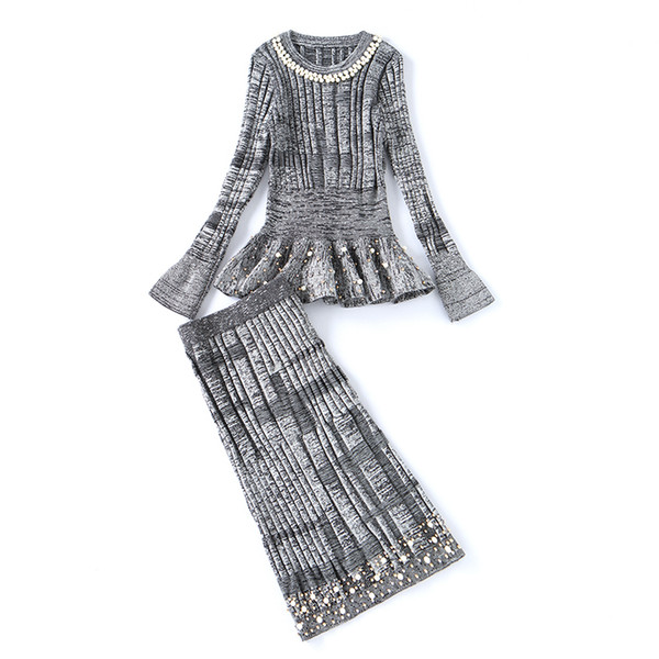 2017 Inverno Ladies Knitted Beading Ruffles Pullover Maglione Gonna lunga Tute da donna Urban Cotton Blends Set da 2 pezzi