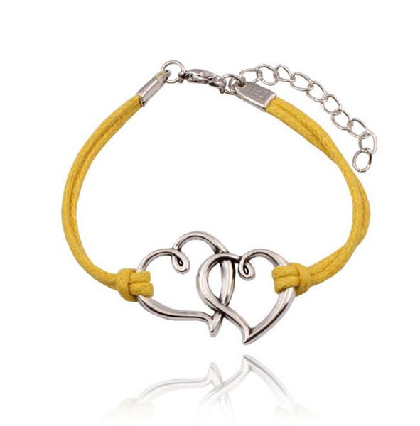 Velvet Rope Bracelet Double Heart Bracelet Couple Fashion Bracelet Tibetan Silver Cuff Bangle Men Woman Jewelry Friendship Gift Handmade