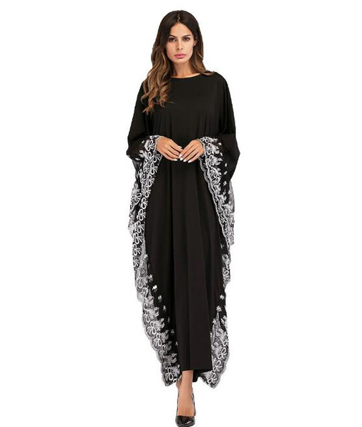 2019 European and American bat sleeve embroidered elegant temperament dress hot sale Muslim robes women's large size