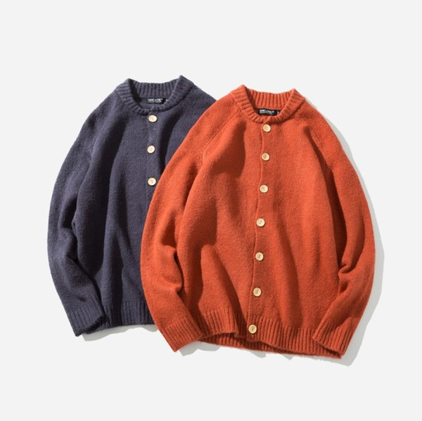 Escudo para hombre del diseño original de dos Básico Negro Color Naranja chaqueta de punto de un solo pecho Moda Casual Ropa para Hombres