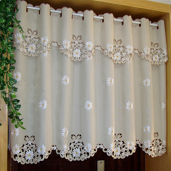 top popular British Half-curtain Embroidered Window Valance Customize Light Shading Curtain for Kitchen Cabinet Door Curtain Home Decoration 2021
