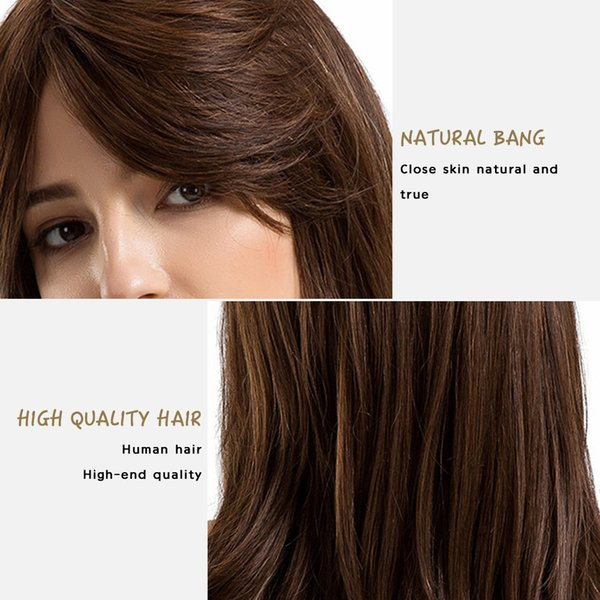 Hair Care Wig Stands Women's Fashion Wig Long Straight Hair Ladies Natural Color Side Parting Wigs With Bangs 22 Inch Feb13