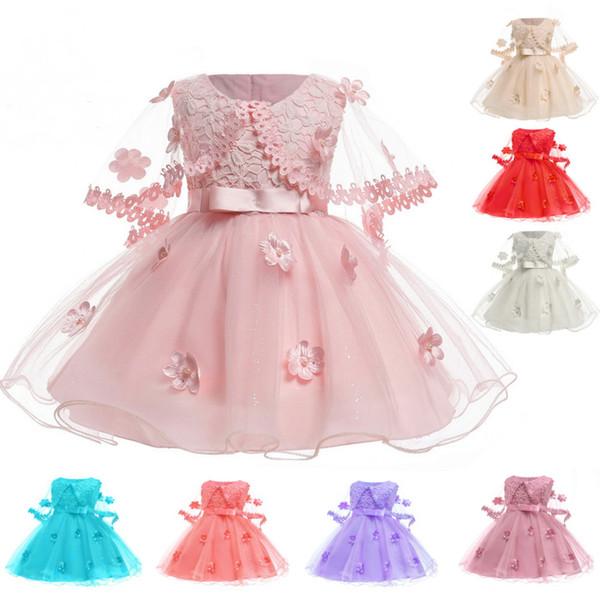 New Birth Baby Girl Dress Princesa Fiber Dresses Tutu Falda Con Manto Diseño Vestidos de cumpleaños Ropa para niños