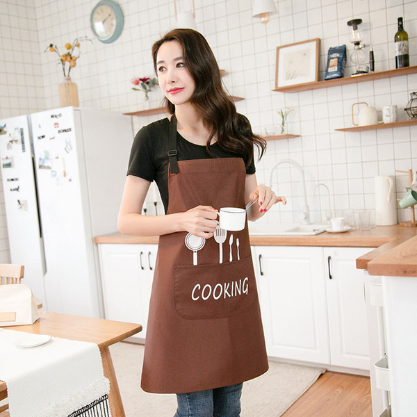 Three-layer waterproof apron kitchen oil-proof Nordic style knife and fork fashion simple adult waist home workwear