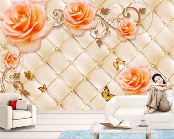 Hd Dream Fashion Silk Cloth Wallpaper Rose Flower Rattan Rattan Soft Bag Tv Background Wall Papel De Parede Tapety