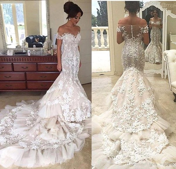 2019 Sexy Querida Vestido de Noiva Glamorous Sereia Longa Lace Apliques de Jardim País Igreja Noiva Vestido De Noiva Custom Made Plus Size