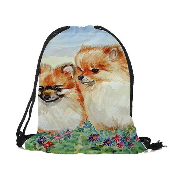 Children Backpack Cute Animal Dog Print School Bags Casual Practical Drawstring Backpacks for Women Men Sports Shopping Travel