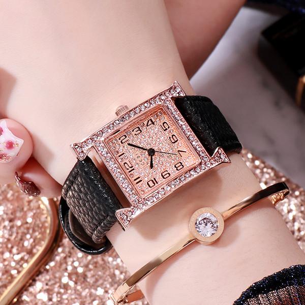 Vintage Damenuhr GEDI Hot Luxury Damenuhr Fashion Explosion Square Diamant Temperament Wild Belt Quarzuhr