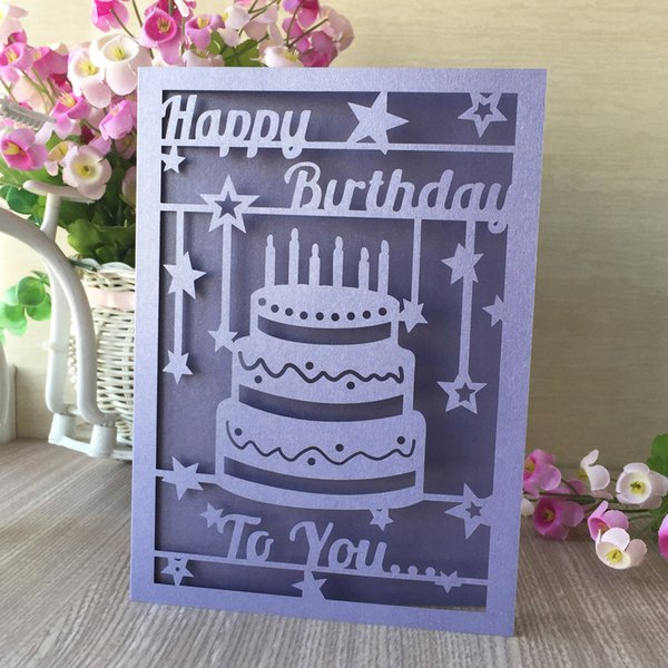 Hollow Laser Cut Birthday Cake Pattern Lace Birthday Blessing Gift Card Wedding Invitation Cards Lady Style Party Invitations Create Your Own Wedding