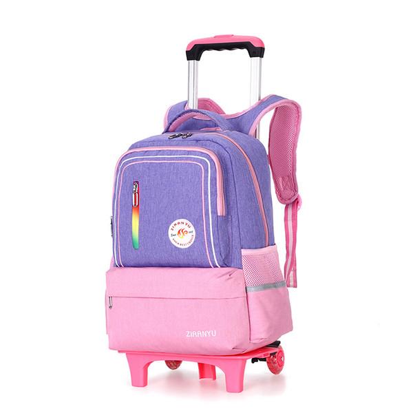Kids Trolley Schoolbags for girls Orthopedic Waterproof Backpack Children 6 Wheels Removable Bookbags Boys Trolley Travel Bag