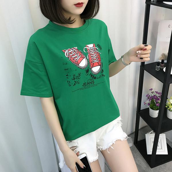 Symbol Pattern Cat Letter Print T-shirt Harajuku Casual Tumblr Female K342