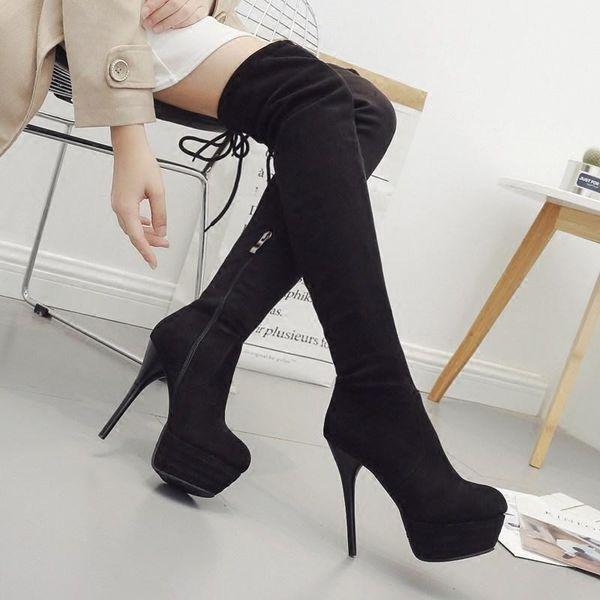 Lucky2019 Barato Estilos de Couro Nubuck Sobre As Botas Do Joelho Para As Mulheres Grandes 33-43 Quatro Cores Saltos Stiletto Sapatos