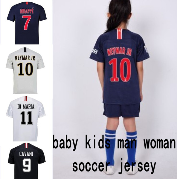 Kids designer clothes 18/19 psg soccer jersey CAVANI MBAPPE DI MARIA NEYMAR JR baby boy girl adult Maillot De Foot Football jerseys