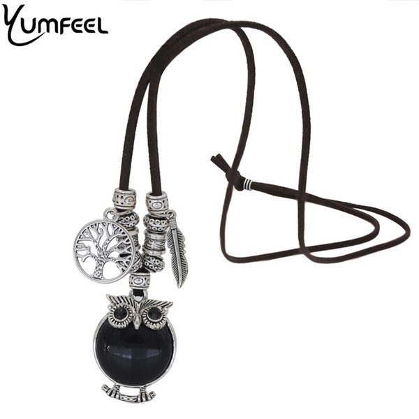 ashion Jewelry Necklace Yumfeel Vintage Tibetan Silver Stylish Gallant Sparkling Owl Charming Flossy Necklaces & Pendants For Women J...