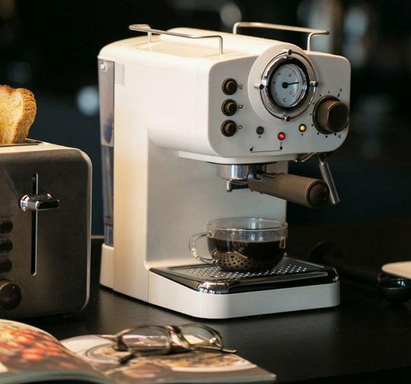 Machine à café expresso machine à café à pression de pompe 15Bar Rétro cafetière italienne mousseuse à lait commerciale semi-automatique LLFA