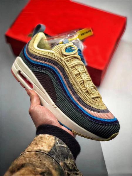 Toptan Yeni 97 Sean Wotherspoon Erkekler Koşu Ayakkabıları Kadın Moda Sarı Beyaz 97/1 Hibrid Spor Sneakers Eğitmenler Sneakers B ...