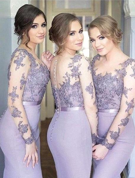 2019 robe de demoiselle d'honneur sirène dentelle appliqued robe de demoiselle d'honneur élégante demoiselle d'honneur robe pas cher formelle robes de soirée de bal