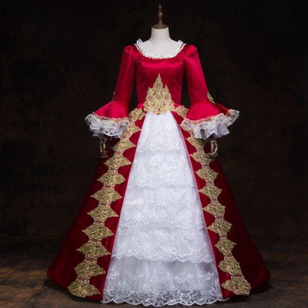 Nuevo vestido de fiesta gótico victoriano vestido rojo de las mujeres período teatral Steampunk traje de gala traje