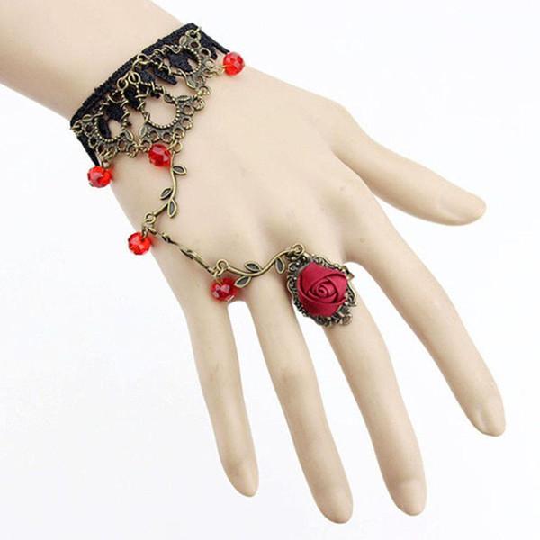 Gothic Schmuck Frauen Spitze Blume Hand Slave Chain Hot Harness Armband Geschenk Neu
