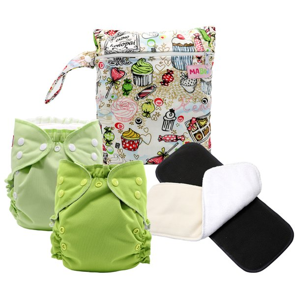 MABOJ Cloth Diaper Set One Size Pocket Diaper With Suede Cloth Inner Washable Adjustable Reusable One Size Cloth Nappies