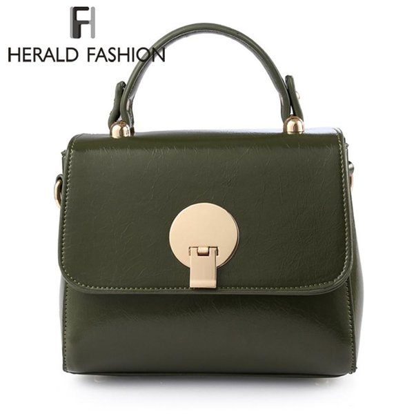 Herald Fashion Quality Women Leather Handbag Female Chain Shoulder Bags Causal Women Top-handle Bags Ladys Messenger