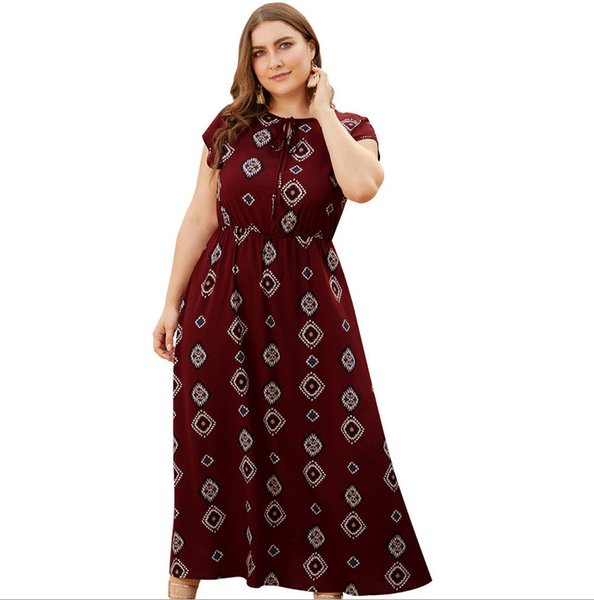 New Lace Round Neck Women's Plus Size High Waist Short Sleeve Large Holiday Bohemian Beach Casual Midi Dress