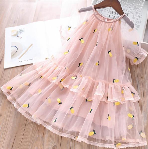 Estate ragazze pizzo abiti da principessa garza ananas ricamo vestito bambini manica corta tulle vestito bambini festa di compleanno abiti