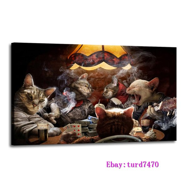 Cats Playing Poker,1 Pieces Canvas Prints Wall Art Oil Painting Home Decor (Unframed/Framed) 16x24.