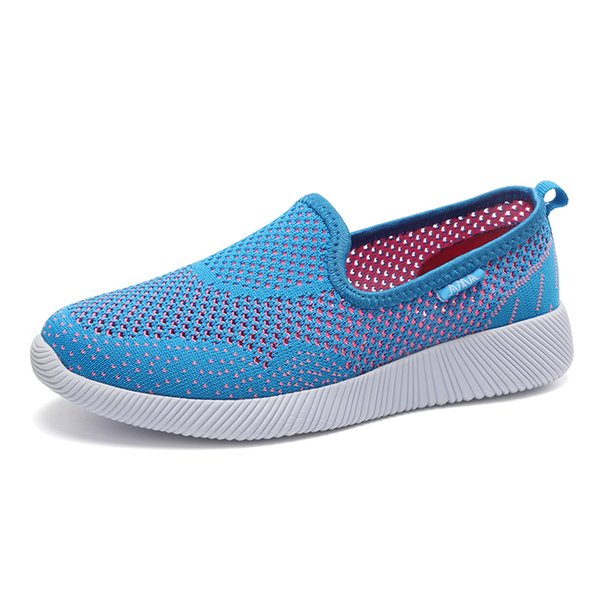 Womens Knit Fabric Breathable Casual Shoes Hot Simple Comfortable Breathable Flat Bottom Loafers