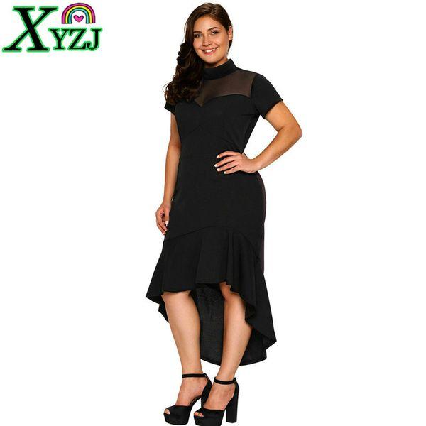 3XL Sexy Dress Women Lady Black Round Collar Short Sleeve Pleated Front Short Back Long High Waist Slim NEW Fashion Party Wedding Dress