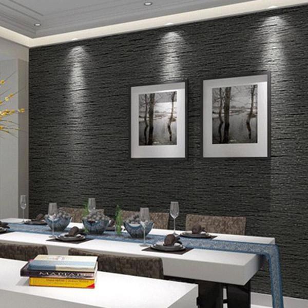 3D Olmayan Dokuma Çevre Dostu Duvar Kağıdı Modern Minimalist Koyu Gri Taklit Saman Duvar Kağıdı Oturma Odası Çalışma Ofisi 3D Ev dekor