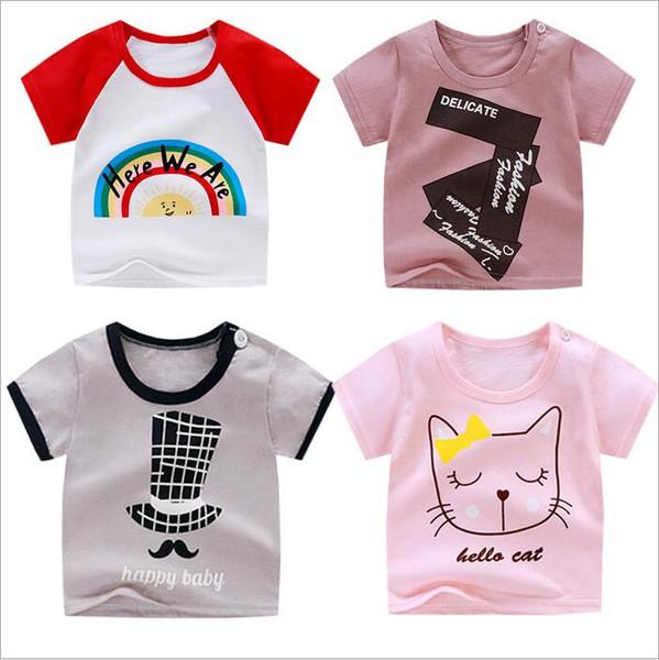 Crianças Roupas Meninas T-shirt de Algodão Infantil Dos Desenhos Animados de Algodão Encabeça Criança Elastic T-shirt de Manga Curta Recém-nascidos Tanques Casuais Boutique A5470