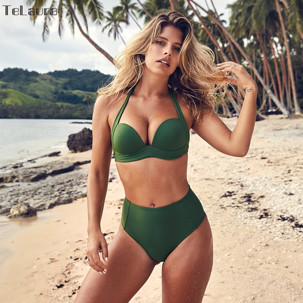 best selling TeLaura Sexy High Waist Bikini Set Swimwear Women Swimsuit Push Up 2019 Womens Bikini Halter Top Bathing Suit Beachwear Biquini T191008