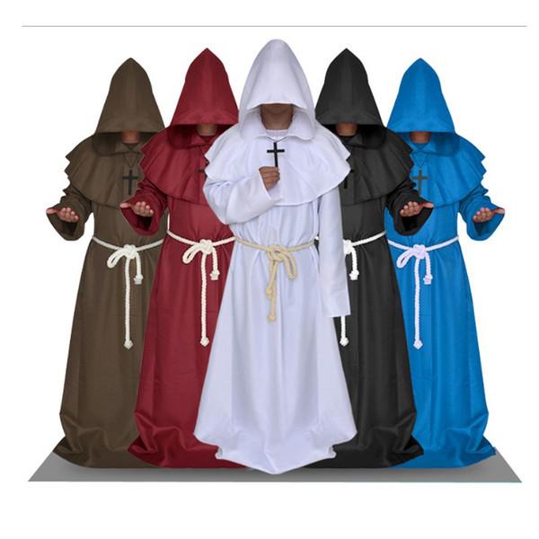 Homens Trajes Designer trajes de Halloween medievais Monges Robes sacerdotes cristãos Igrejas Vestuário Mens Priest traje