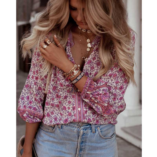 Boho Inspired Blouse Women Pink Floral Blossom Shirts Button-down Long Sleeve V-neck Casual Summer Top Female Blusas 2019 New Y190817
