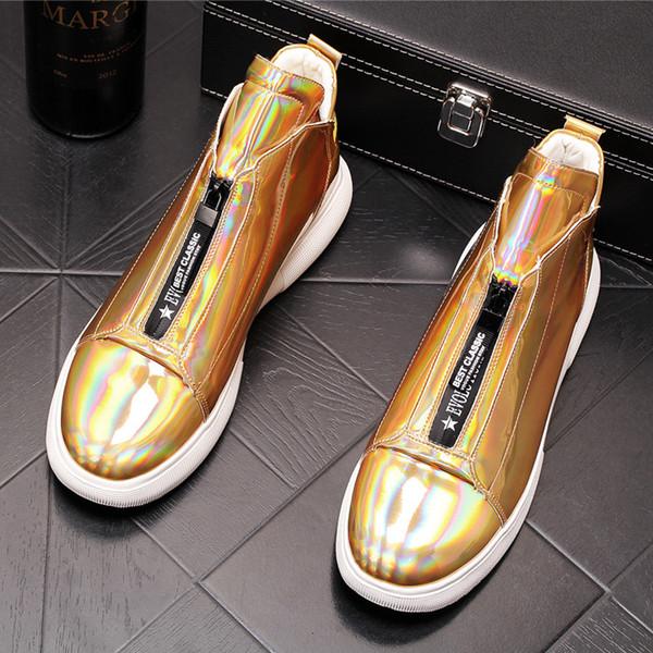 Yeni Erkekler tasarımcı trendsetter Yansıtıcı dazzle renk yüksek Casual Flats Ayakkabı Tops Adam punk Loafer'lar kurulu ayakkabı web ünlü