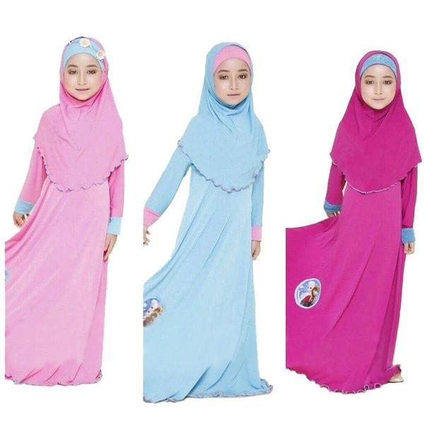 Due set tradizionale per bambini Cartoon Abbigliamento Moda bambino Abaya per ragazza musulmana Abiti per bambini islamici Jilbab e Abaya