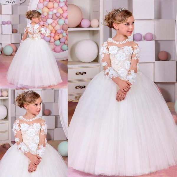 2019 Charming Holy White Ball Gown Designer Kids Dresses Tulle Sheer Neckline Lace Long Sleeve 3D Flower Girls Wedding Gowns