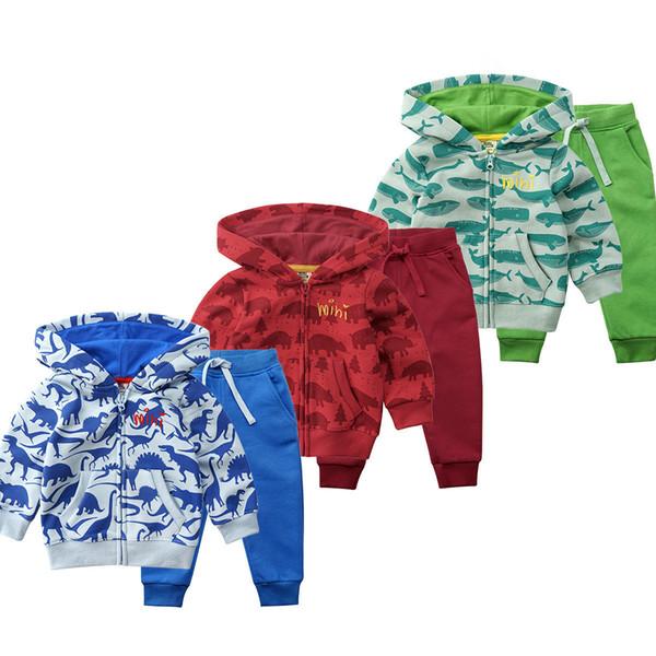 Outono Inverno Bebê Meninos Roupas Set Animal Dos Desenhos Animados Impresso Moletom + Calças 2 pcs Roupas Terno Crianças Bebê Menina Definir Roupas Infantis