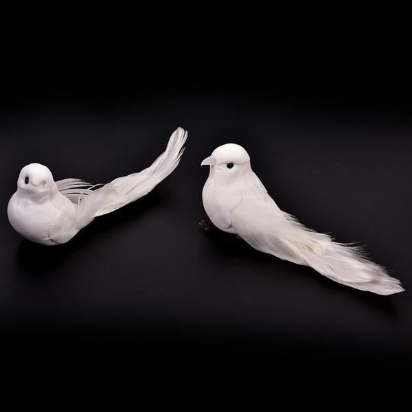 Mengxiang Blanc Avec Craft Birds Décor À La Maison De Mariage Décorations Adorables Colombes Décoratives Plume En Mousse Plume C19041501