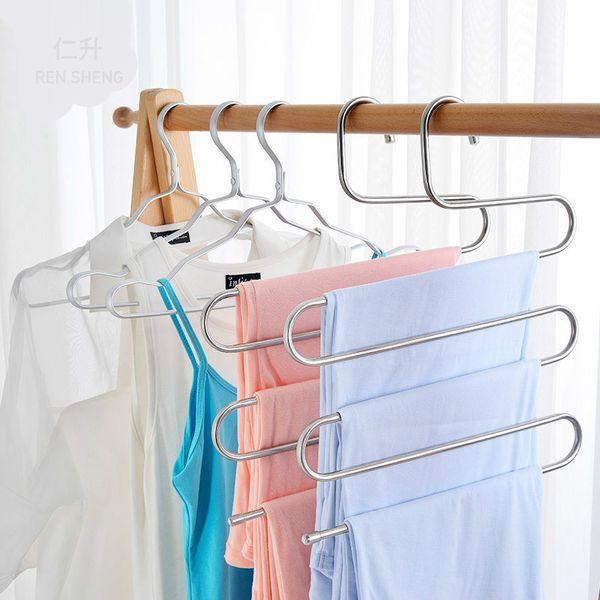 Stainless Steel Trousers Hanger - 5 Layers S Shape Multifunction Pants Storage Hangers Closet Belt Holder Rack Saving Space
